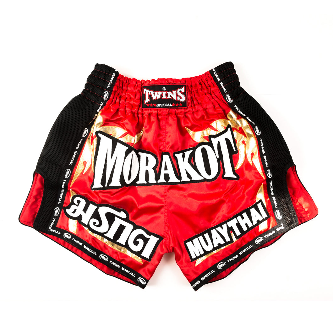 MORAKOT TWINS RED RETRO CUT MUAY THAI SHORTS
