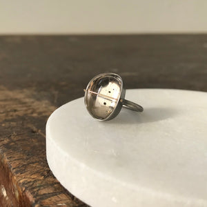 Load image into Gallery viewer, Captured Pyrite in Quartz Ring