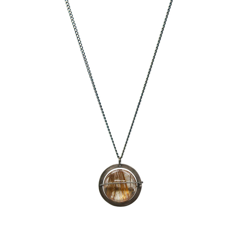 Captured Rutilated Quartz Orb Necklace