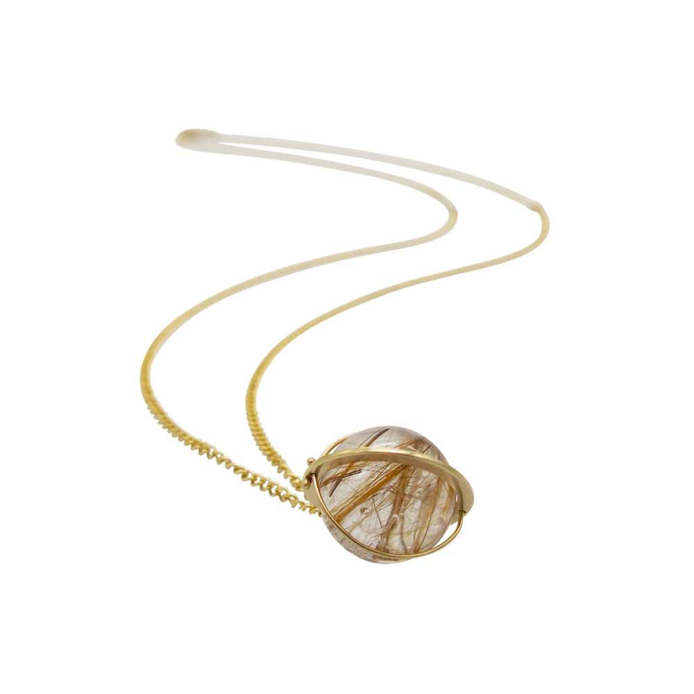 Load image into Gallery viewer, Captured Rutilated Quartz Orb Necklace