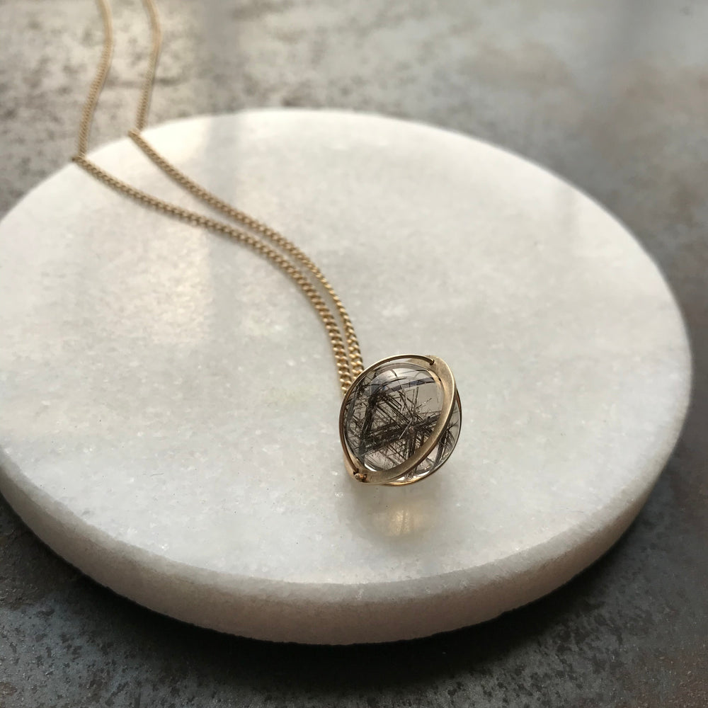 Captured Silver Rutile Quartz Orb Necklace