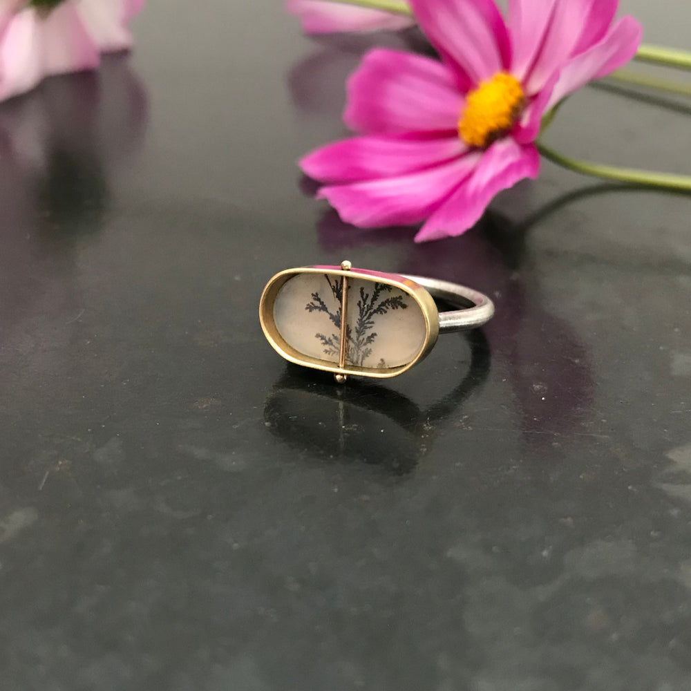 Captured Dendritic Agate Ring