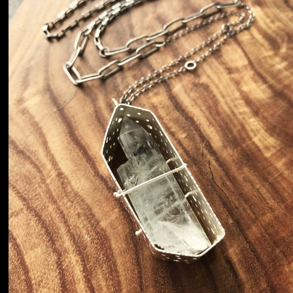 Load image into Gallery viewer, Captured Aquamarine Pendant on Long Chain