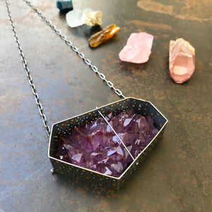 Load image into Gallery viewer, Captured Amethyst Cluster Necklace