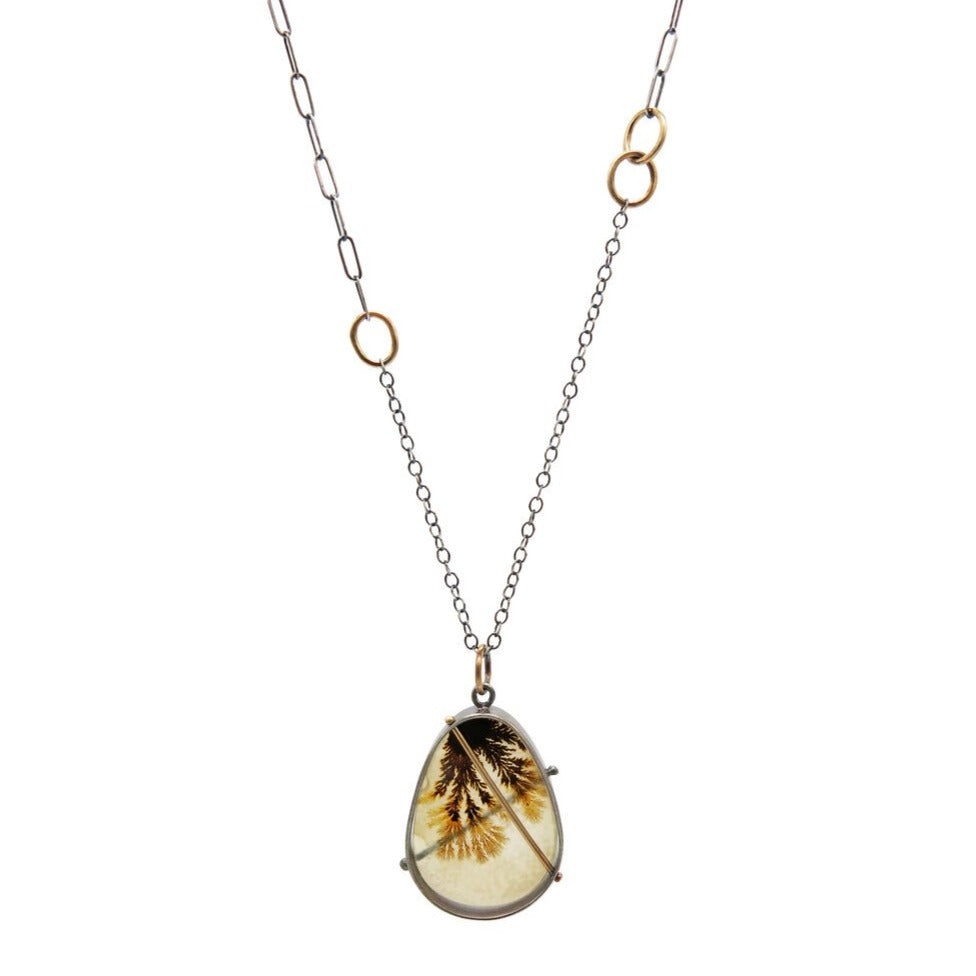 Load image into Gallery viewer, Captured Dendritic Agate Teardrop Pendant
