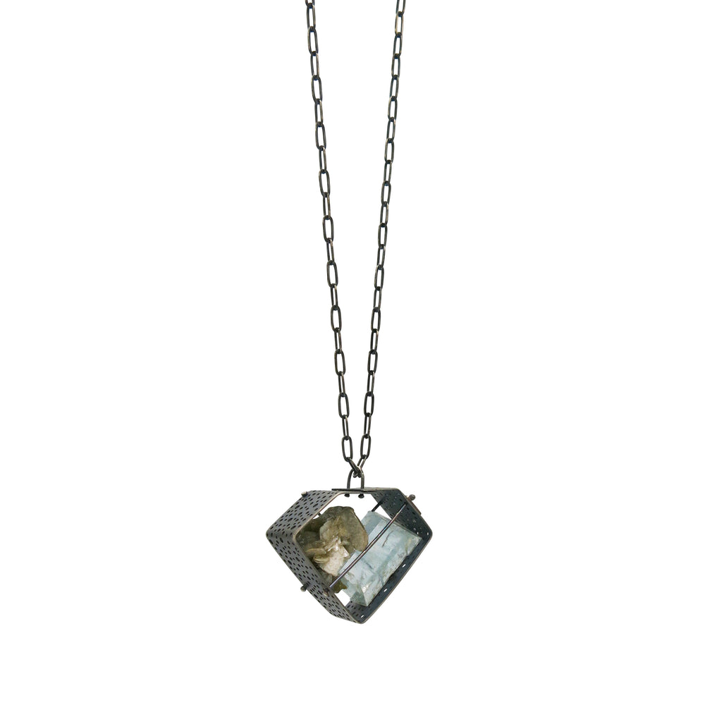 Load image into Gallery viewer, Captured Rough Aquamarine and Mica Necklace