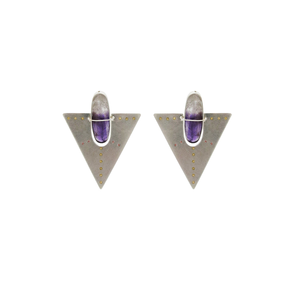 Amethyst and Plique Triangle Earrings