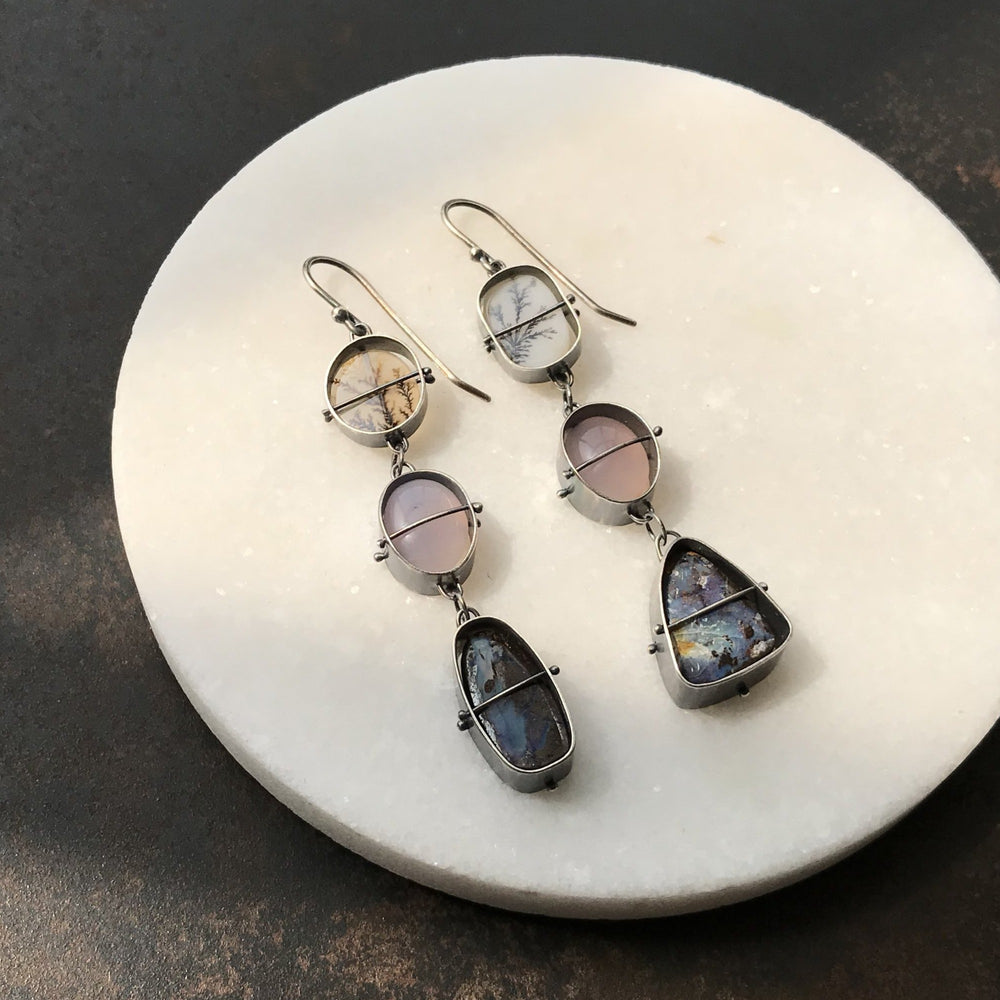 Captured Dendritic Agate, Purple Agate, and Boulder Opal Earrings