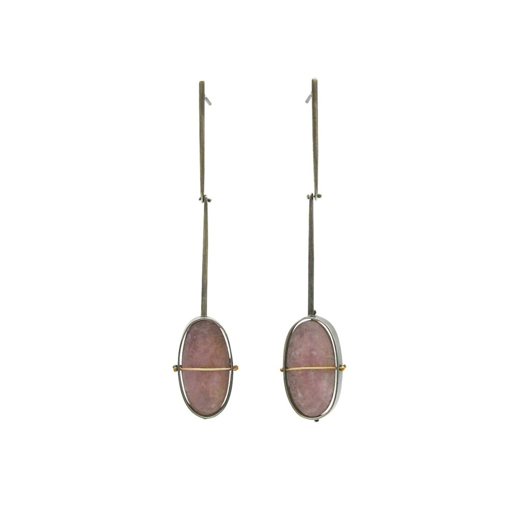 Captured Lepidolite Drop Earrings