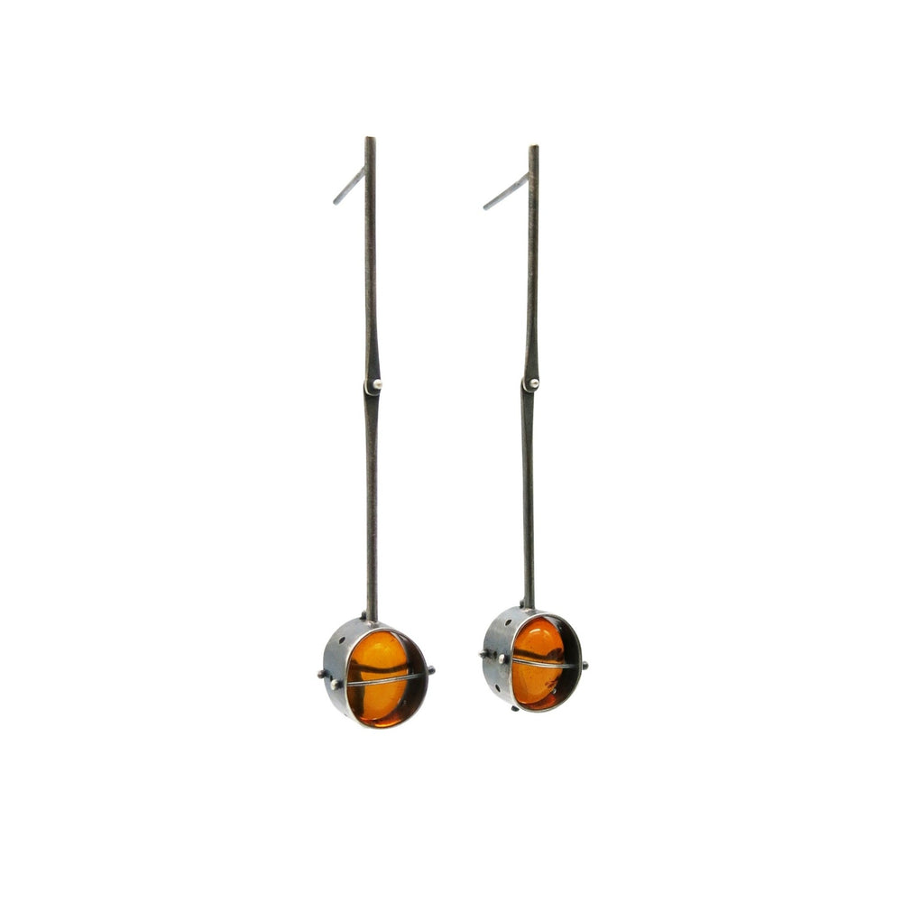 Load image into Gallery viewer, Captured Amber Drop Earrings
