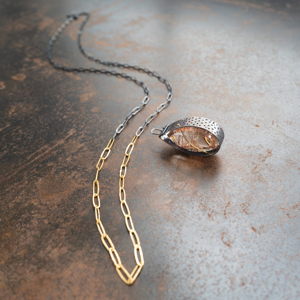 Silver Rutile Quartz Teardrop Pendant with Removable Long Chain