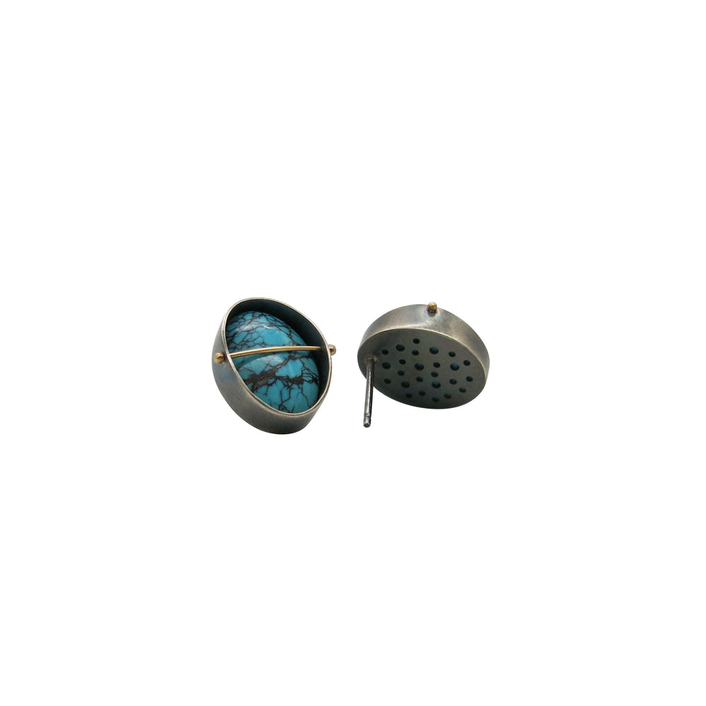 Load image into Gallery viewer, Captured Blue Moon Turquoise Stud Earrings