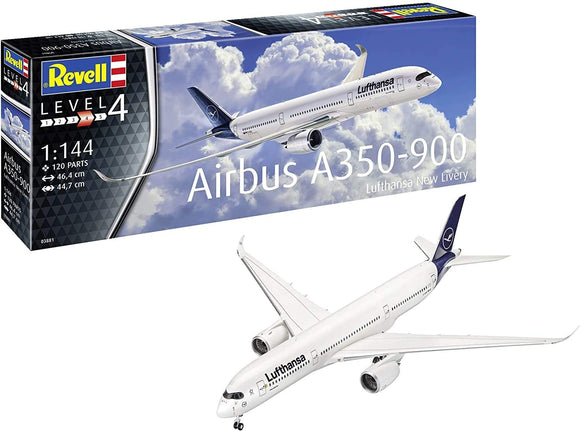 Revell RV03881 1:144 Airbus A350-900 Lufthansa New Livery Plastic Model Kit, Multicolour - Chester Model Centre