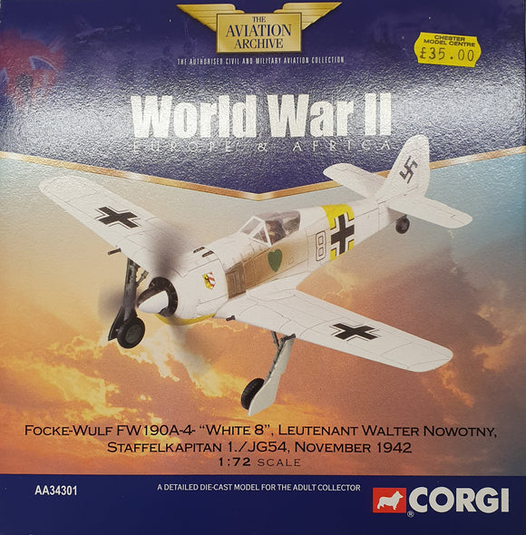 Corgi Aviation Archive Collector Series AA34301 Focke-Wulf Fw190A-4 White B Leutenant Walter Nowotny - Chester Model Centre