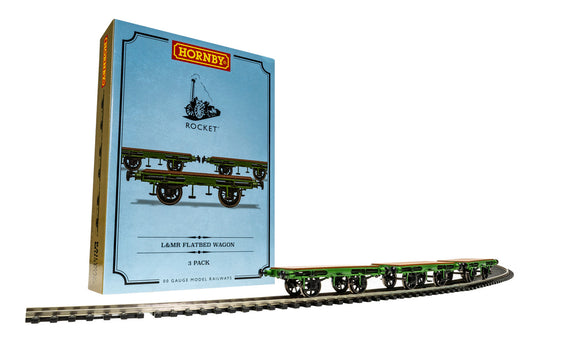 Hornby R60014 L&MR Flat Bed Wagon Pack containing 3 x Flat Bed wagons - Stephensons Rocket ERA 1) - Chester Model Centre