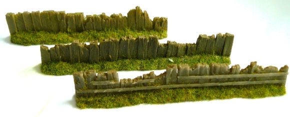OO Gauge Old Damaged Light Brown Sleeper Fencing (Bag of 6) - Chester Model Centre