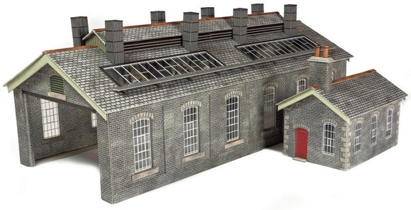 PO337 O Gauge S & C Style Stone Engine Shed Double Track - ChesterModelCentre