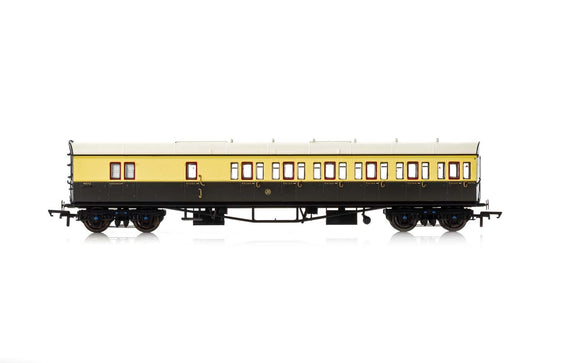 Hornby R4877A GWR, Collett 57' Bow Ended D98 Six Compartment Brake Third (Right Hand), 5504 - Era 3 - Chester Model Centre