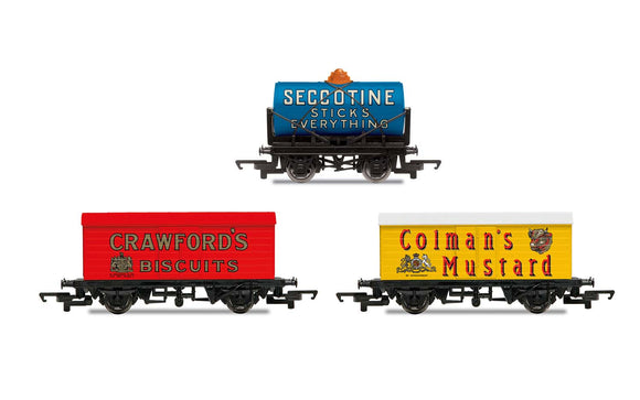Hornby 'Retro' Wagons, three pack, Crawfords Biscuits, Seccotine Tanker, Coleman's Mustard - Chester Model Centre