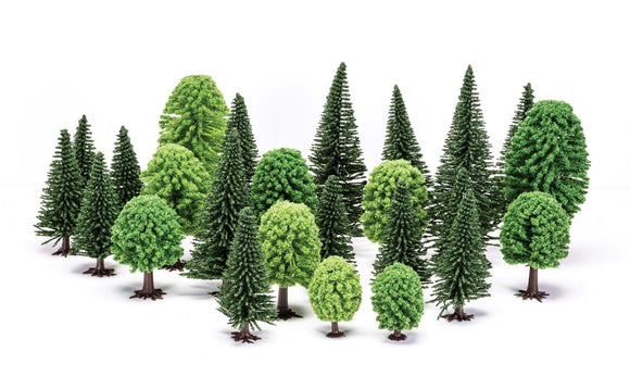 Hornby R7201 Hobby' Mixed (Deciduous and Fir) Trees 5-14cm x20pcs - Chester Model Centre