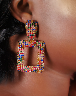 Multi-colored Square Earrings