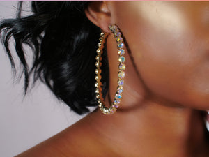 'Iridescent' Studded Hoops