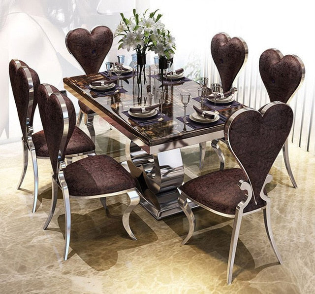 Rama Dymasty Stainless Steel Dining Room Set Home Furniture Modern Mar Xanders Home Furniture