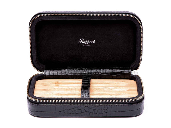 Rapport-Mens-Brompton Three Cigar Soft Case-Black