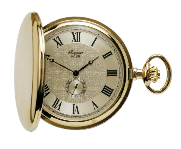 Quartz Full Hunter Gold Plated Pocket Watch with Champagne Dial