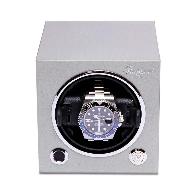 Rapport-Watch Winder-Evo Single Watch Winder-Platinum Silver