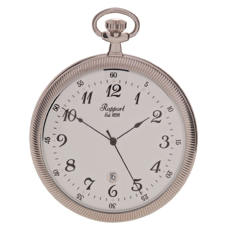 Rapport-Watch Accessories-Slim Open Face Pocket Watch-Silver