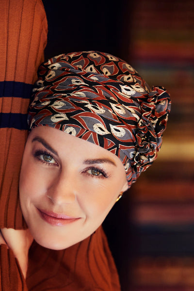 Turban Lotus - Turban in Viscose of Bamboo - patterned 1008-0619