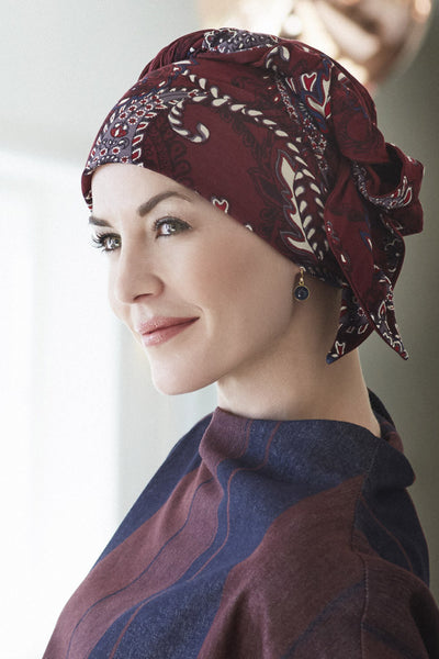 Mantra - Turbante in viscosa di bambù - Fantasia paisley bordeaux 1012-0441