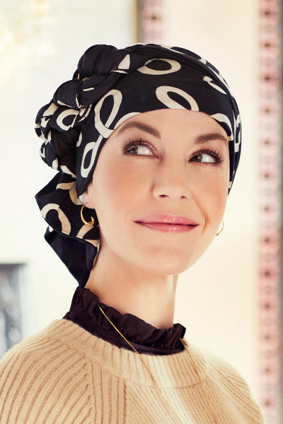 Turban Mantra with scarfs in bamboo viscose - patterned 1012-0618