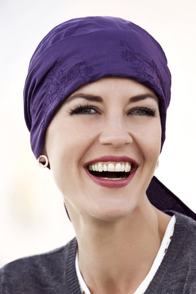 Cali - Turban in cotton/silk Purple with Embroidery - 8202-184