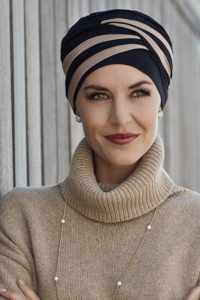 Shanti - Turban in Viscose of Bamboo - Black/beige - 1131-0395