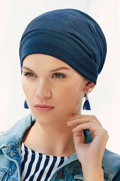Turbante Clara - Cuffia in cotone blu 1329-0557
