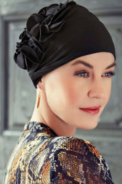 Turban Nadi - Turban in bamboo viscose with decorative applications in - black - 1398-0211