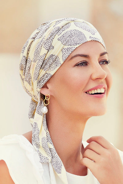 Turban Beatrice and Turban, in Viscose of Bamboo - leopard design lilac/black - 1419-0593