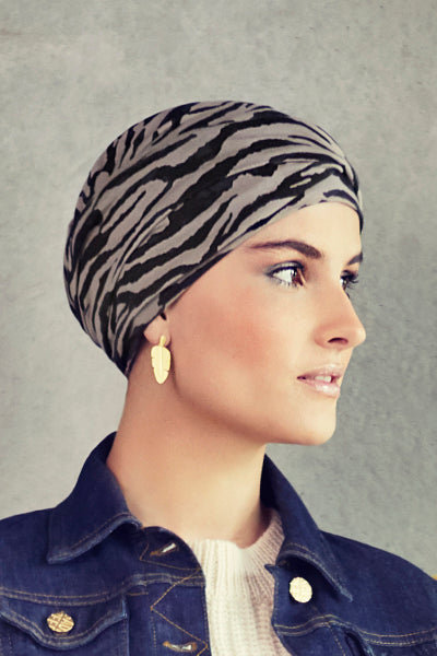 Zoya - Turban in cotton/viscose - zebra stripes 1437-0616