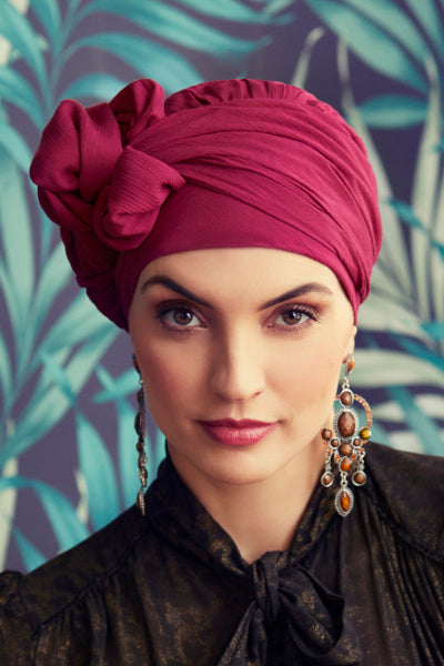 Sapphire - Turban rayon, with long tape-removable - cherry red 3001-0578