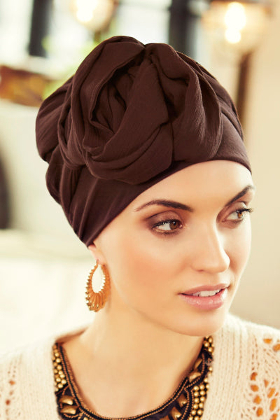 Sapphire - Turban rayon, with long tape-removable - mocha 3001-0579