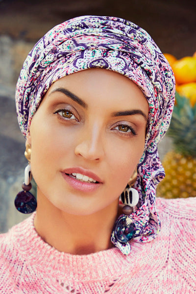 Sapphire - Turban polyester with long tape removable - blue with palm trees 3008-0601
