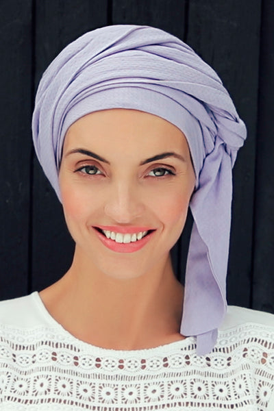 Sapphire - Turban in viscose with long tape-removable - lilac 3009-0598