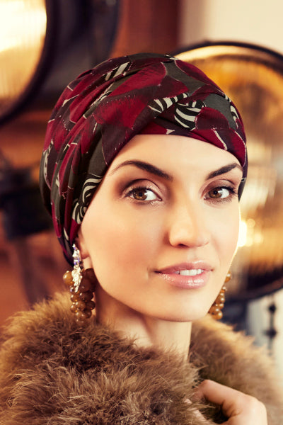Sapphire - Turban polyester with long tape-removable - fantasy bordeaux 3013-0611