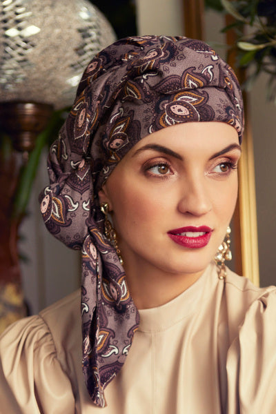 Sapphire - Turban in viscose with long tape-removable - fantasy paysley grey 3014-0612