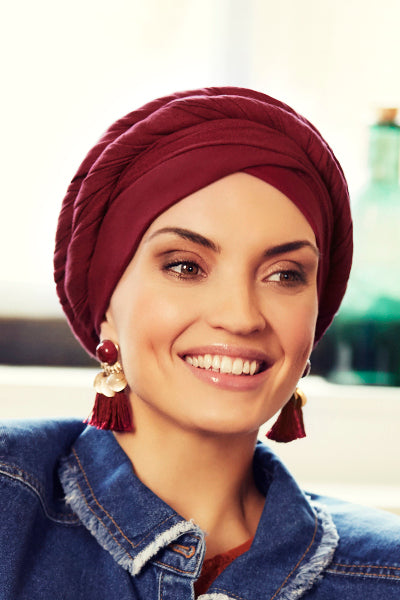 Sapphire - Turban in viscose with long tape-removable - bordeaux 3015-0614