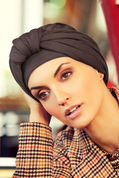 Sapphire - Turban in viscose with long tape-removable - grey 3015-0615