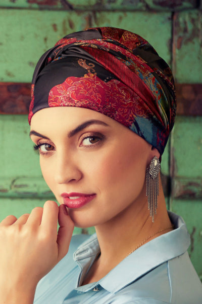 Sapphire - Turbante in poliestere - Paisley Fire-Red 3026-0683