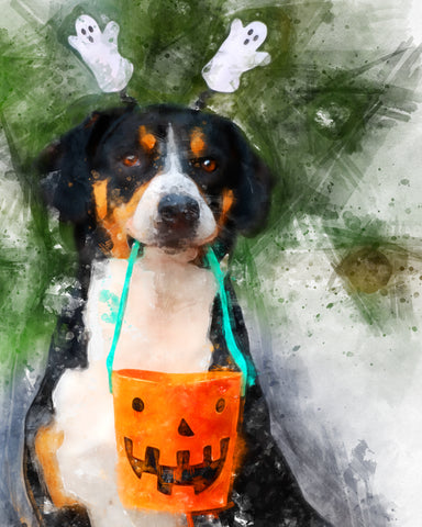 A dog holds a halloween candy container while also wearing ghost shaped ear muffs. The dog has been recreated into a watercolor visual representation of the original version
